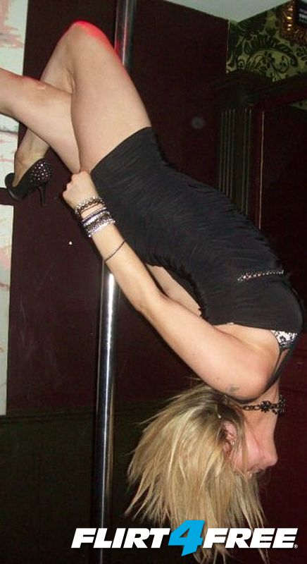 upside down on the pole