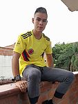 with the shirt on supporting my team colombia