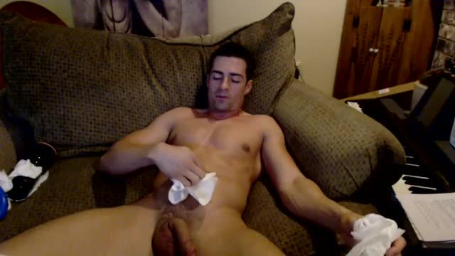 Guy on Couch, Fleshjack & Dildo at Same Time