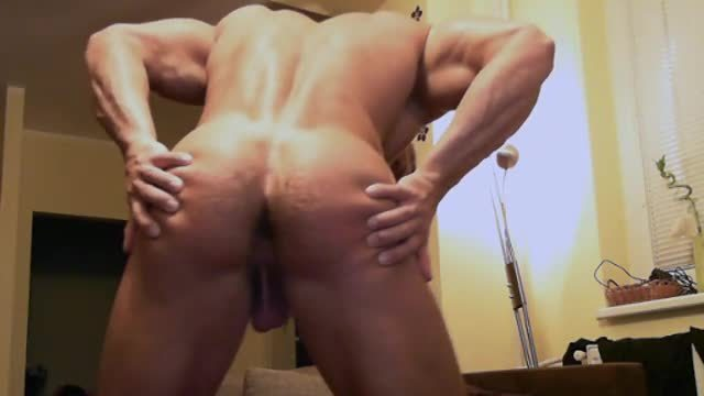 Big Muscle Stud Flexes and Webcam Shows His Ass