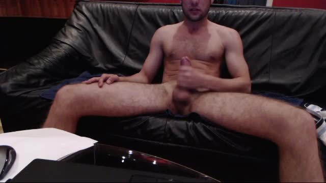Aaron Jerks Off His Big Cock on Sofa