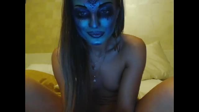 Sexy Brunette Makeup Mask Webcam Show
