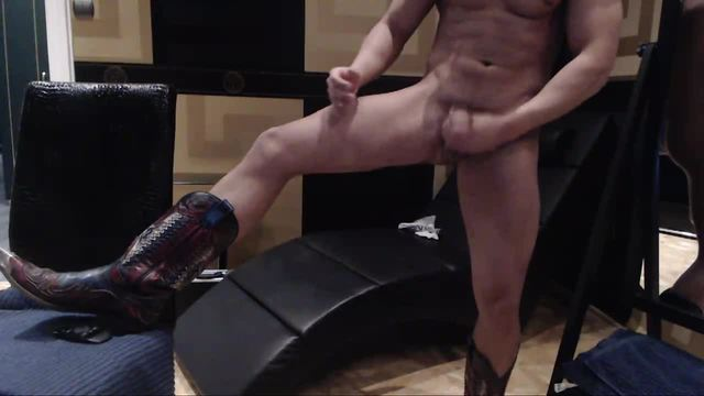 Amadeo in Cowboy Boots Jerking His Cock
