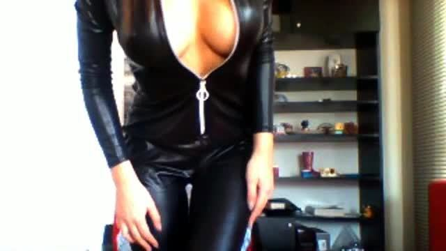 Anastasia Miss Webcam Shows Off Her Sexy Black Leather