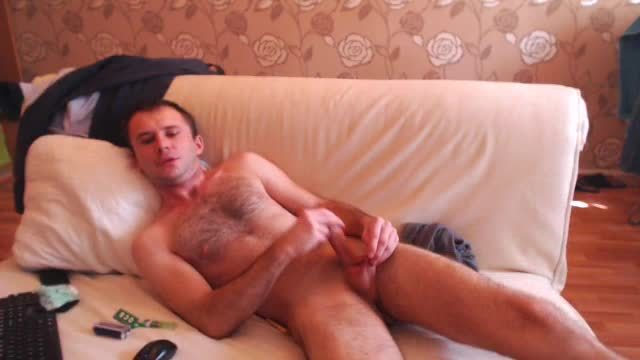 White Guy Big Dick on the Sofa
