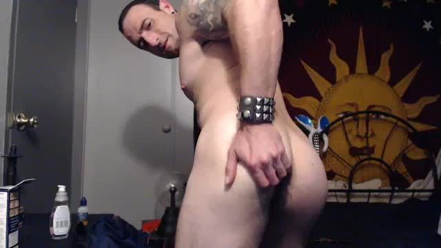 Tattoed White Guy Plays with His Butt and His Cock - Solo