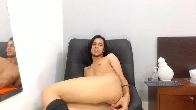 Long-haired Latino Twink Loves his Toys