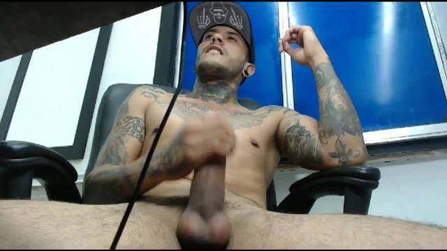 Tattooed Jym Takes out His Big Latino Cock