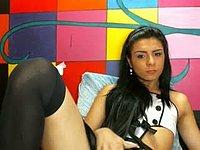 Young Latina Strokes Cock