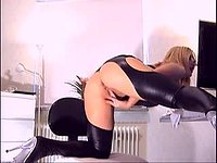 Abellana Black Latex, Pussy Fingering