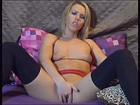Blonde Girl Using a Dildo
