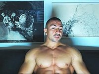 Muscle Man, Webcam Showing His Body