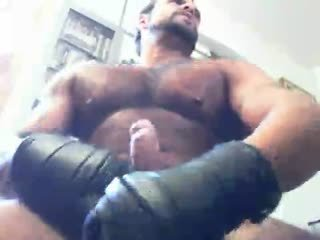 Black Leather Gloved Fetish Handjob. Cumshots