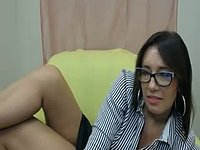 Girl with Glasses Webcam Shows Off Legs
