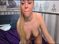 Nude Blonde Sucks Dildo