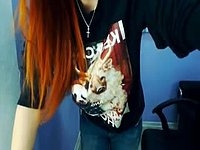 Redhead Girl Striptease Webcam Show