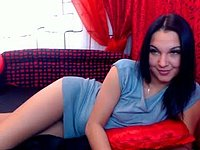 Brunnette in Blu Strips and Plays and Licks Toes