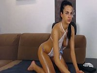 Belle Strips and Dances with Oiled Up Body