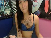 Petite Tranny with Tattoo on Her Chest