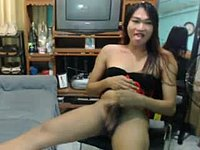 Asian Tranny with Hairy Cock