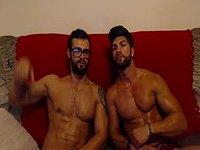 Guys Webcam Show Their Muscles