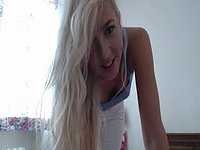 Gorgeous European Blonde Striptease Webcam Show