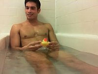 Fit Latin Guy Sits Nude in Bathtub
