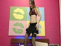 Seana Lin Black Stockings, Brunette, Pussy
