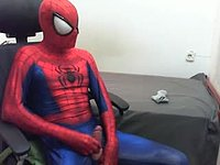 Undressing the Spiderman and Jerking Off