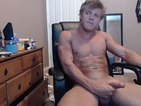 Smooth College Muscle Guy Plays with His Manhood