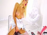 Hot Blonde Lisa Squirty Puts Her Huge Dildo to Use