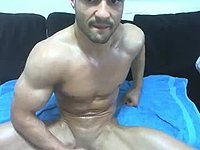 Colin Jerking Off and Webcam Shows His Oiled Up Body