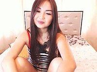Slender Asian Girl with Red Bra