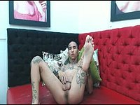 Tattooed Twink Takes Big Dildo