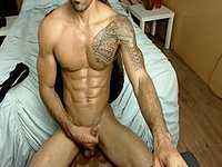 Hairy Muscled Model Jerking Off