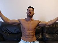 Muscular Guy, Getting Naked Slowly