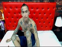 Tattooed Twink Model Jerking Off and Webcam Showing His Ass
