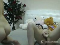 kiss, oil show, naked, play with toy, bj