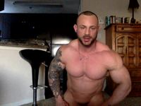Older Muscled Guy Flexes Naked
