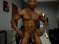 Ebony Hunk Flexes and Strokes