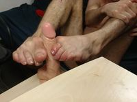 Hot Footjob on Big Dildo in Private Session