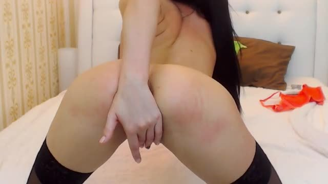 Pretty Black Haired Girl Plays with Pussy