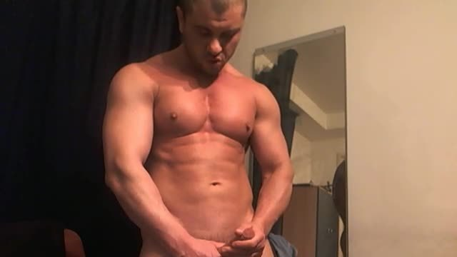 Muscle Guy Poses, Webcam Shows Hole and Jerks Dick