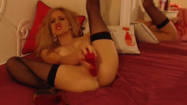 Giant Dildo Thrashing,stockings, Red Lingerie