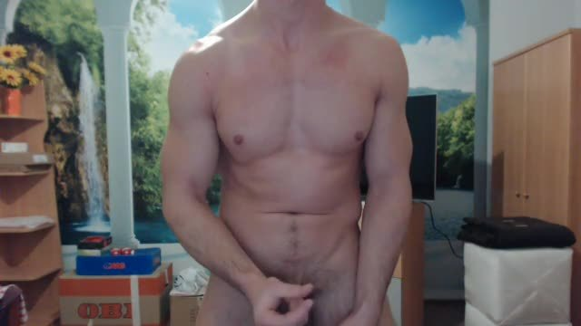 European Guy Strips, Flexes, Jerks Off - Solo