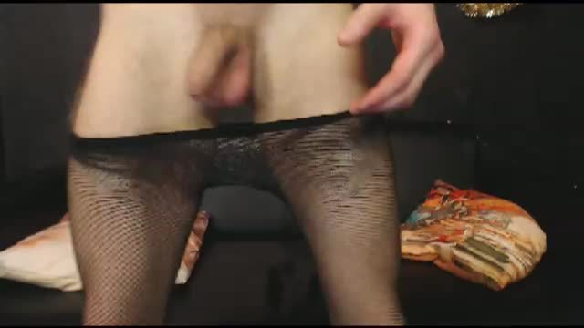 Twink with Lace on Webcam Showing Cock