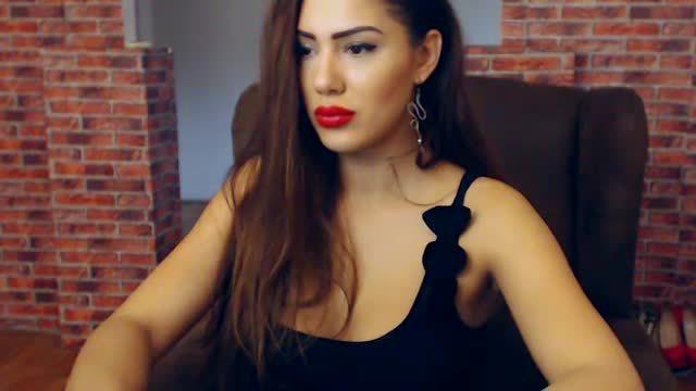 Hot Brunnette in Black Dress
