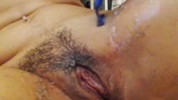 Group Chat: Hairy Salena Shaves Her Pussy