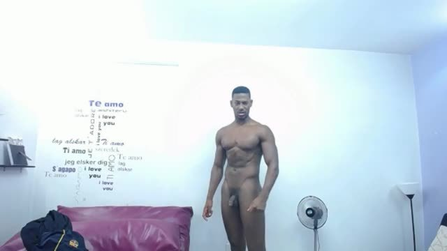 Handsome African Man Flexes