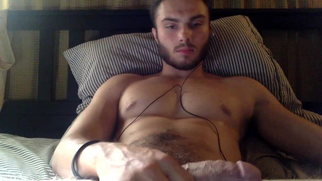 Youthful, Bearded Damon Talks Dirty and Jerks His Cock